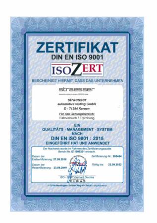 ISO 9001:2015 Zertifikat straesser