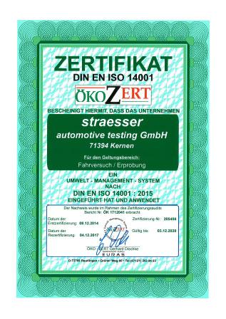 Zertifikat DIN EN ISO 14001 straesser Fahrversuch