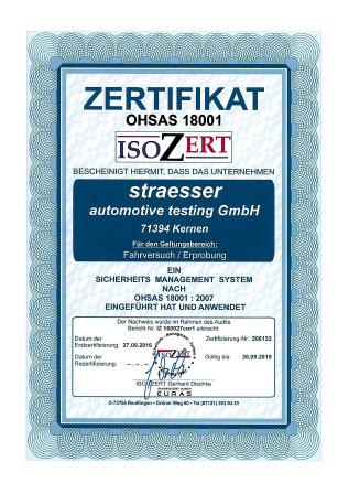 Zertifikat DIN EN ISO 18001 straesser Fahrversuch