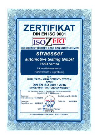 Zertifikat DIN EN ISO 9001 straesser Fahrversuch